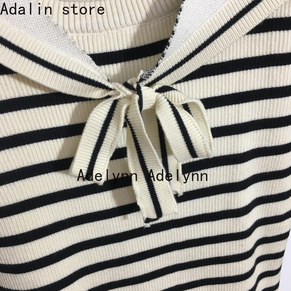 2021 high quality autumn winter new fashion women's letter jacquard stripe color matching sweater sweater detachable Navy collar enlarge