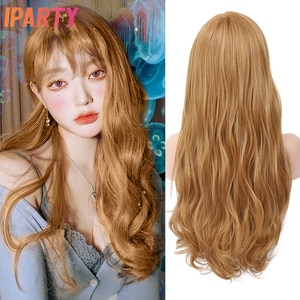 Synthetic Lolita Blonde Wig With Bangs For Women Long Natural Wave Light Brown Wigs Heat Resistant Fiber Hair Cosplay Wig IPARTY
