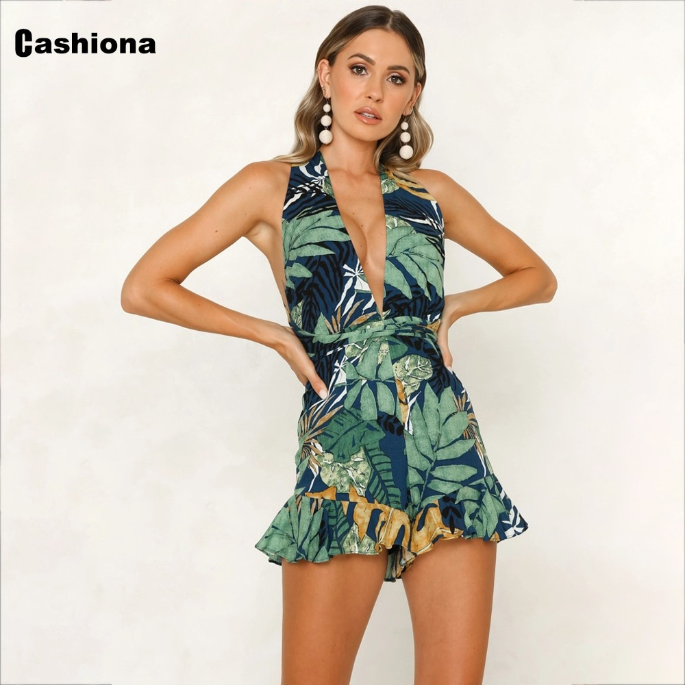 grey rib crossed front deep v neck self tie playsuits Cashiona 2021 Women Boho Flower Print Playsuits Short Beach Bodysuits Female Sexy Deep V-neck Strappy Casual Summer Jumpsuits