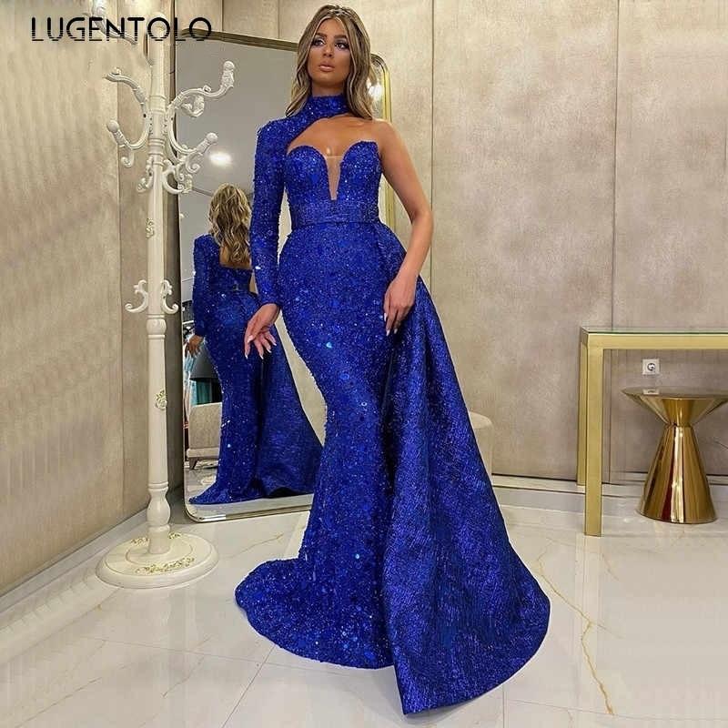 Lugentolo فستان حفلة ترتر المرأة عشاء فساتين ضئيلة ربيع الخريف أنيقة واحدة الكتف حورية البحر مثير عالية الخصر فستان طويل