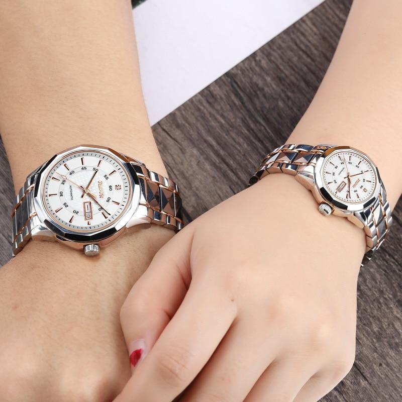 Fashions Metal Watch Automatic Mechanical Watch Tide Waterproof Diamond Inlaid Watch Men's Women's Watch Lovers Watch