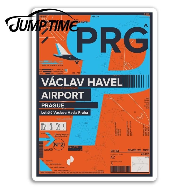 Jump Time for  PRG Václav Havel Airport Vinyl Stickers Prague Travel Sticker Truck Window Bumper Decal Waterproof Accessories