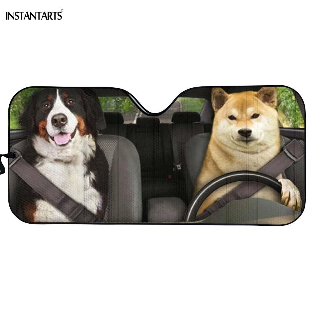 INSTANTARTS drôle 3D Animal chien/chat impression Auto parasol accessoires de voiture pare-soleil Auto pare-soleil voiture protecteur fenêtre avant
