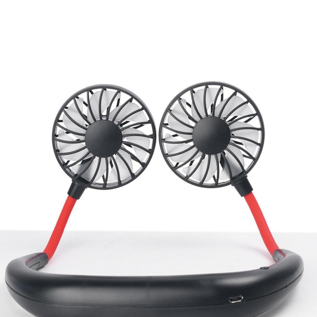 USB doble cabeza colgante cuello silencioso portátil ventilador eléctrico aire acondicionado enfriador ventilador de refrigeración mesa de escritorio de verano uso doméstico