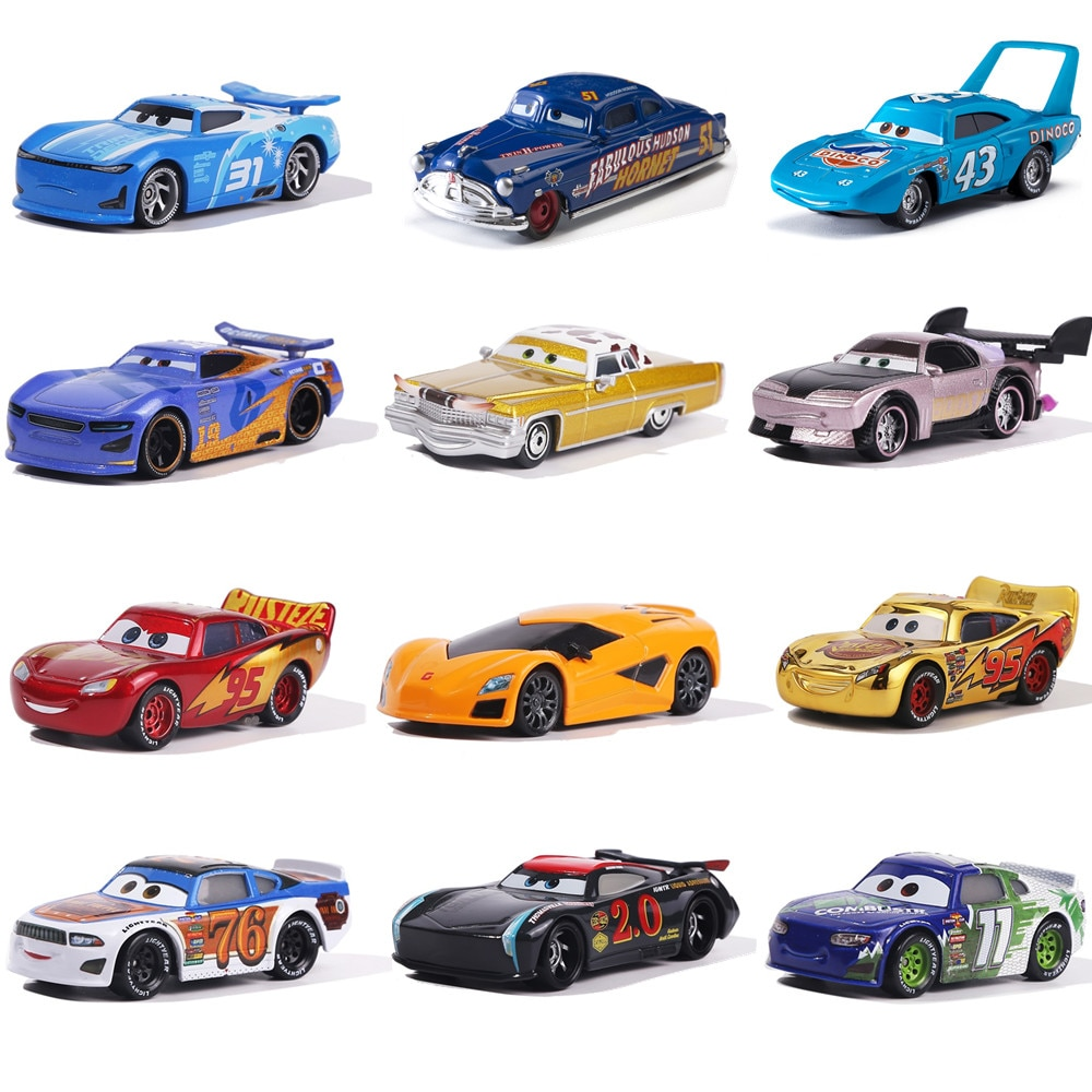 Cars disney Pixar Cars Red Fire Truck Rescue Car The King Jackson Storm Mater 1:55 Diecast Metal Alloy Model Christmas Gift Boys