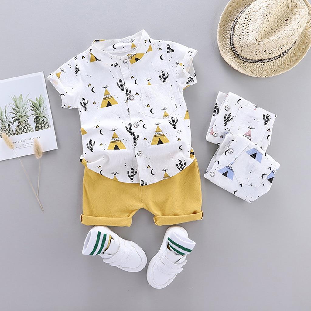 Conjunto de ropa para niño pequeño camiseta de dibujos animados Tops cortos Tee Tops verano niño niña bebé trajes 2020