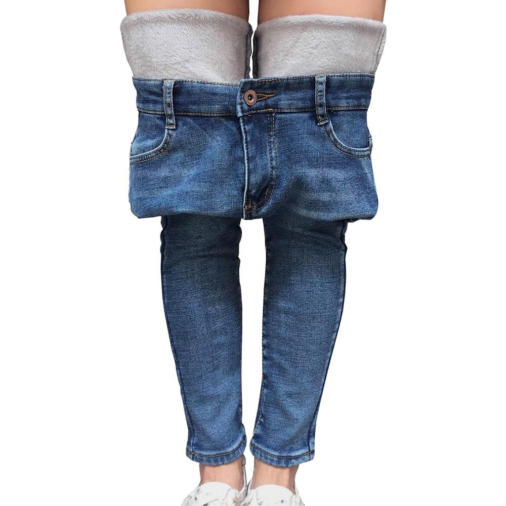 Women Jeans Fleece Lined Slim Fit Winter High Waist Pencil Pants Warm Trousers Female Velvet Warm Jeans Skinny Denim Skinny Pant
