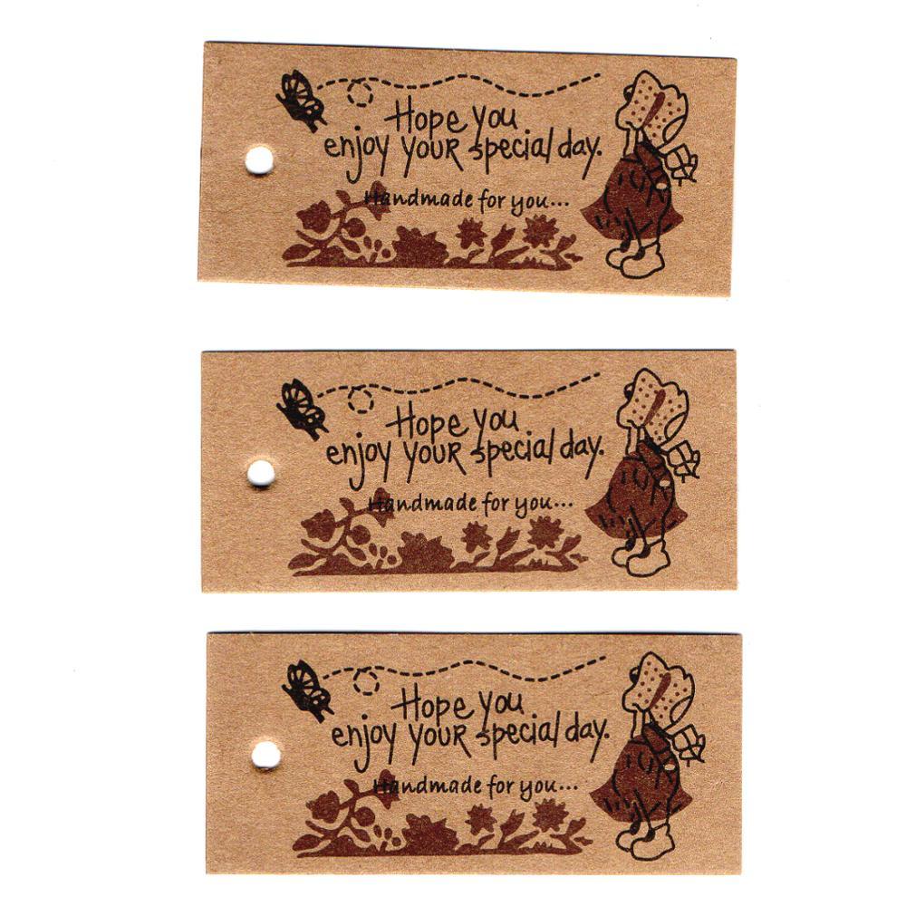 ZERZEEMOOY venta al por mayor DIY ZAKKA casero etiquetas de papel Kraft marcapáginas Tarjeta de mensaje de humor chica 100 Uds./lot62x30x0.3mm