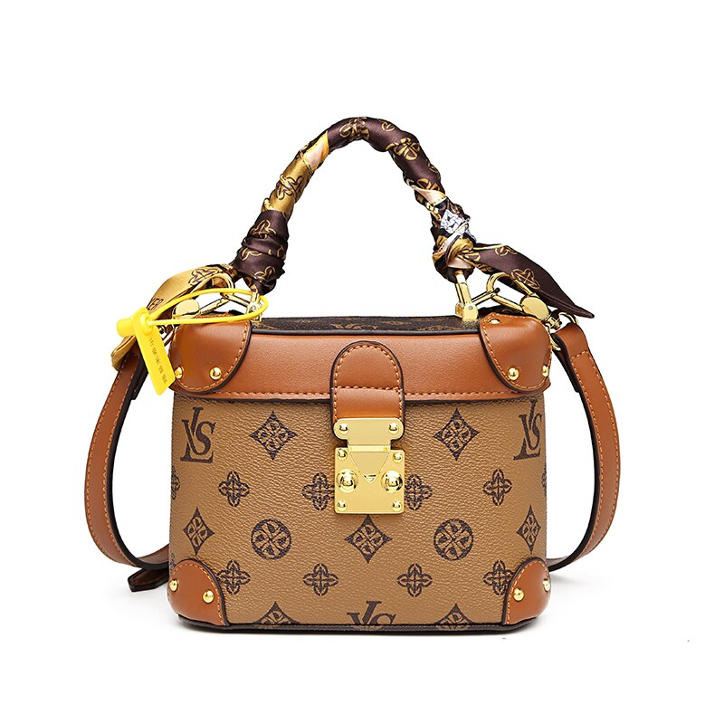Genuine Leather Women Bucket Bags 2021 New Luxury Handbags All Match Retro Prints Single Shoulder Bags Boutique Party Handbags