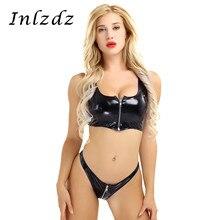 Womens Latex Lingerie Suit Wet Look Patent Leather Zipper Bikini Lingerie Set Sleeveless Crop Top with Mini Briefs Underwear