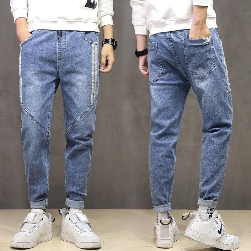 Оригинальные Осенние и зимние стильные мужские джинсы, модные мужские прямые повседневные Стрейчевые джинсовые брюки
