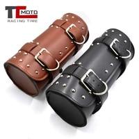 motorcycle front toolkit bag saddlebag round barrel saddle tool bag for harley sportster xl touring softail dyna road king
