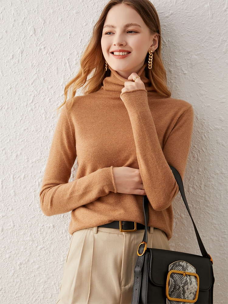 SuyaDream Women Sweaters 65%Cashmere 35%Wool Turtleneck Pullovers 2021 Fall Winter Warm Sweaters for Woman Red Khaki enlarge