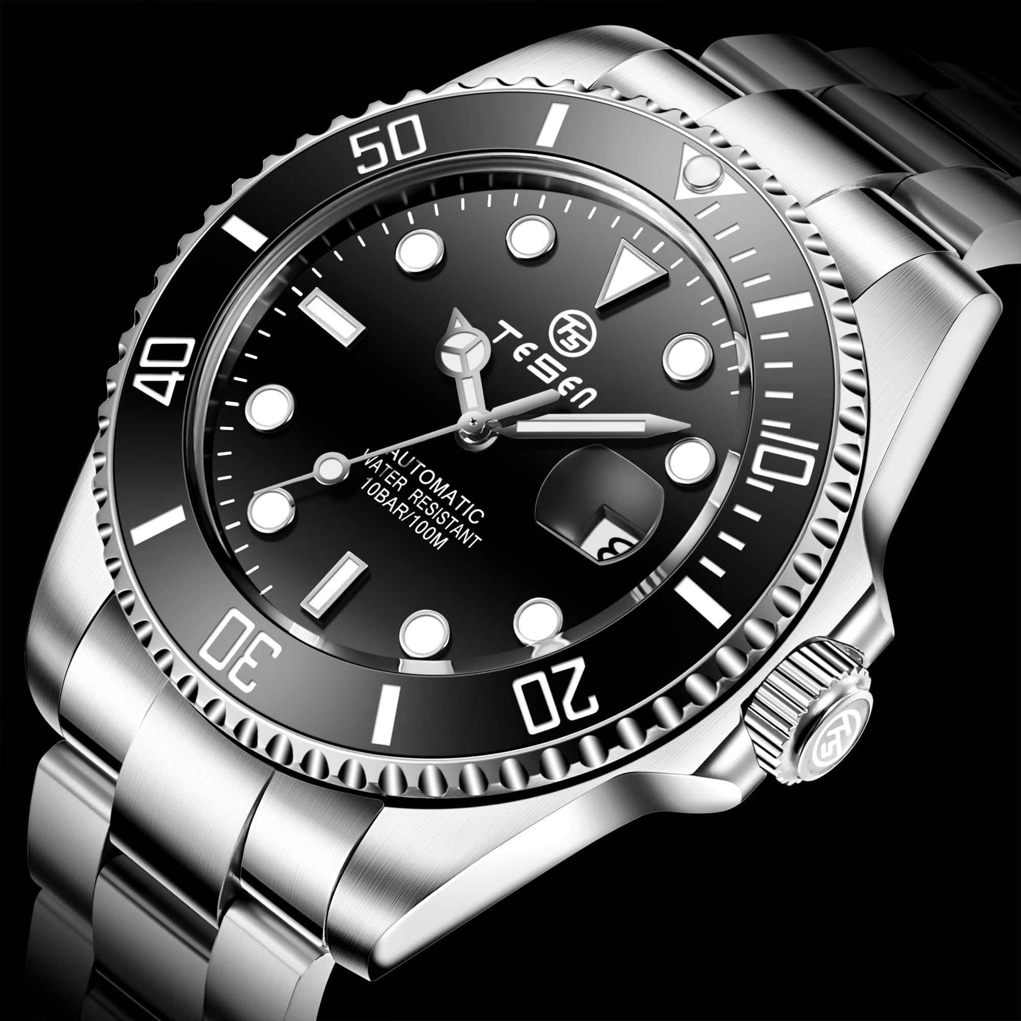 TESEN Top Brand New 43mm Men Luxury Automatic Mechanical Watches 316L Stainless Steel  Sapphire Glass Luminous Waterproof  Watch