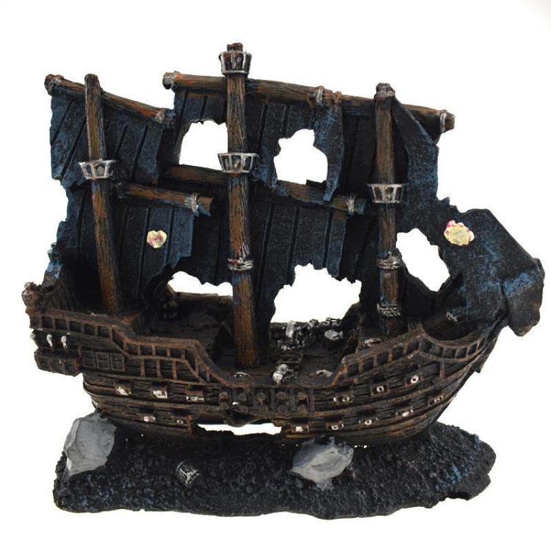 حوض أسماك اصطناعي من الراتنج ، زخرفة قارب Sunk ، حوض للأسماك التالفة ، الأسماك ، الروبيان ، كهف الصخور