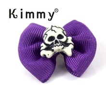 Nœud papillon pour Halloween en forme de crâne   40 pièces, fait à la main, violet, déguisement dhalloween, déguisement de chiot, animal de compagnie
