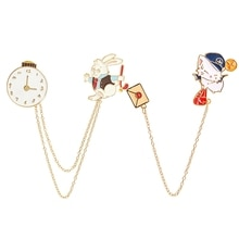 Wonderland Rabbit Chain Brooch Mr White Brooch Shirt Accessories Pocket Watch Rabbit Envelope Cat Pi