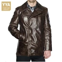 vintage cow leather double breasted trench coat men winter thicken slim fit genuine leather long jacket business casual overcoat