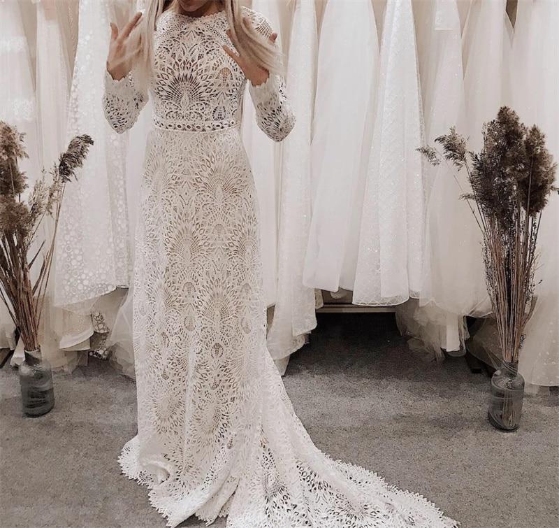 Review Romantic Scoop Long Sleeve Bridal Gown Wedding Dress Boho Lace Backless Boho Hippie vestidos de mairee Wedding Dress