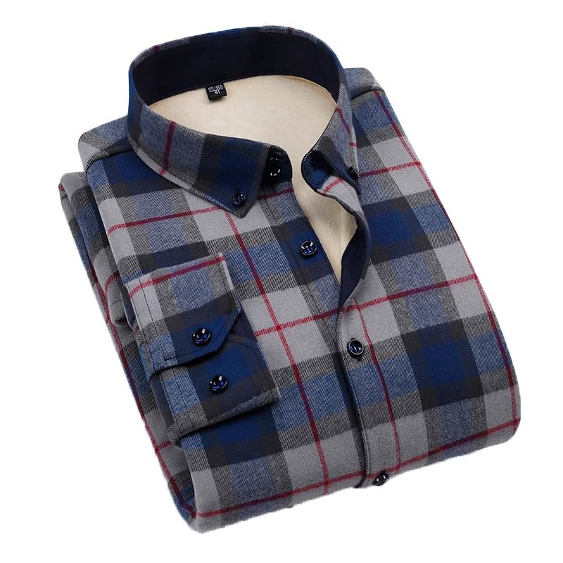 Aoliwen Brand men winter 100% cotton grey Navy check warm shirt casual Plush Soft anti wrinkle long sleeve slim fit shirts