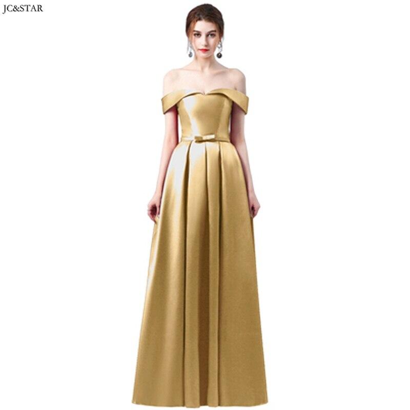 Vestido largo de satén con hombros descubiertos para dama de honor, traje...
