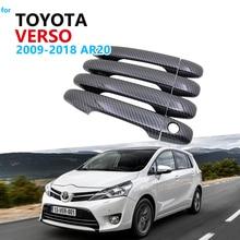 Carbon Fiber Door Handle Cover Trim Set for Toyota Verso AR20 2009 to 2018 Car Accessories 2010 2011 2012 2013 2014 2015 2016