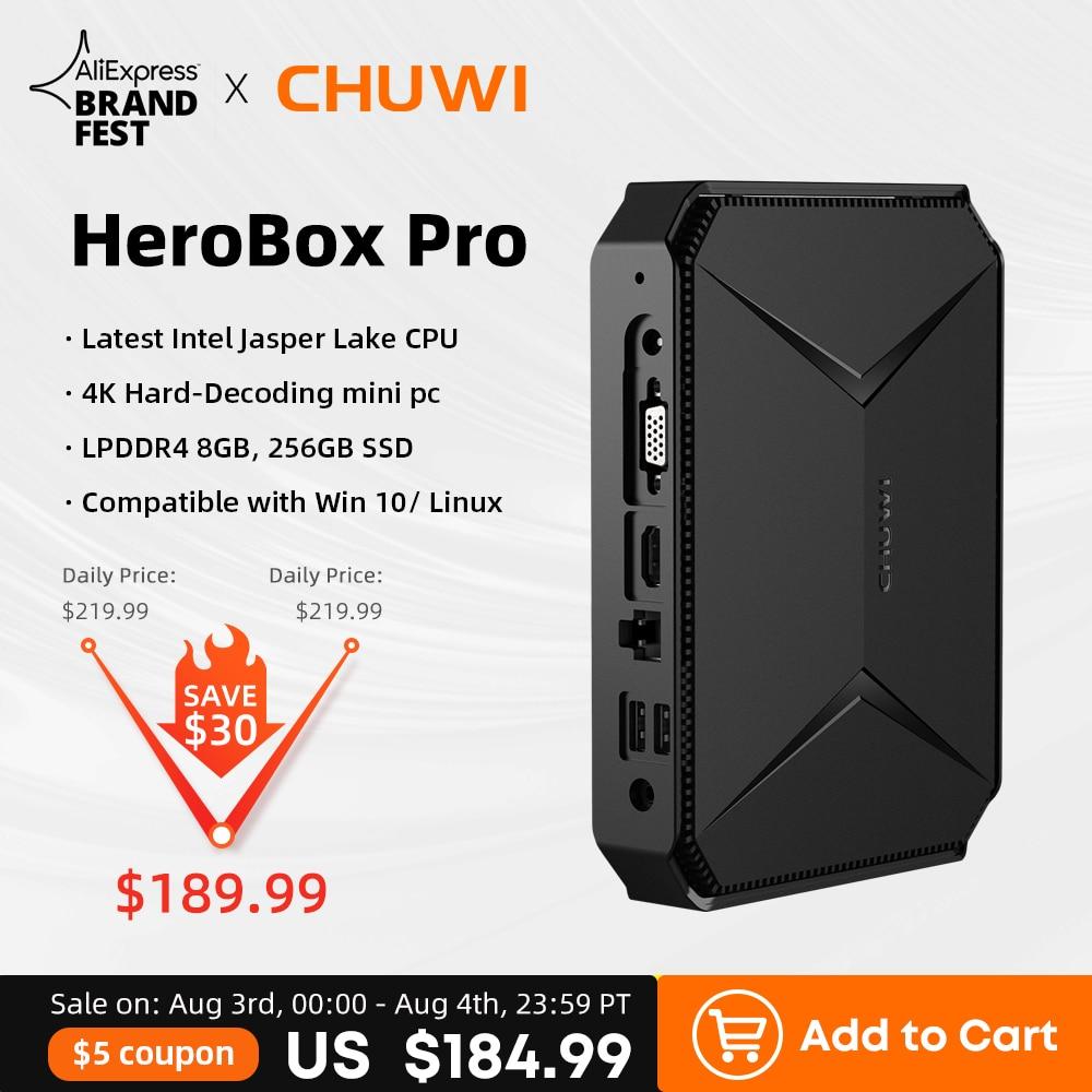 4K Mini PC, CHUWI HeroBox Pro, Intel Jasper Lake N4500, up to 2.8GHz, 8GB RAM, 256GB SSD, كمبيوتر مكتبي صغير, 4 * USB, HD 2.0