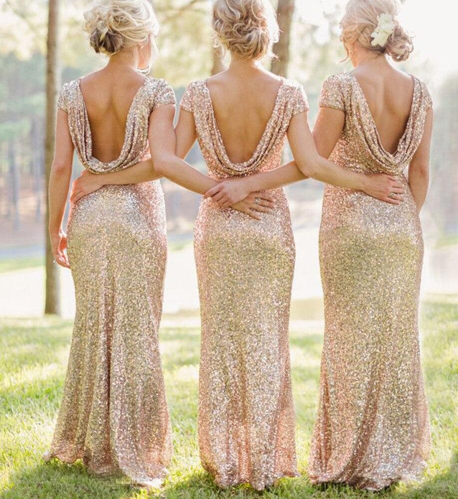 Vestidos Para fiesta Champagne dama de honor vestido largo sirena boda fiesta Vestidos Para el baile espalda descubierta traje Demoiselle Dhonneur