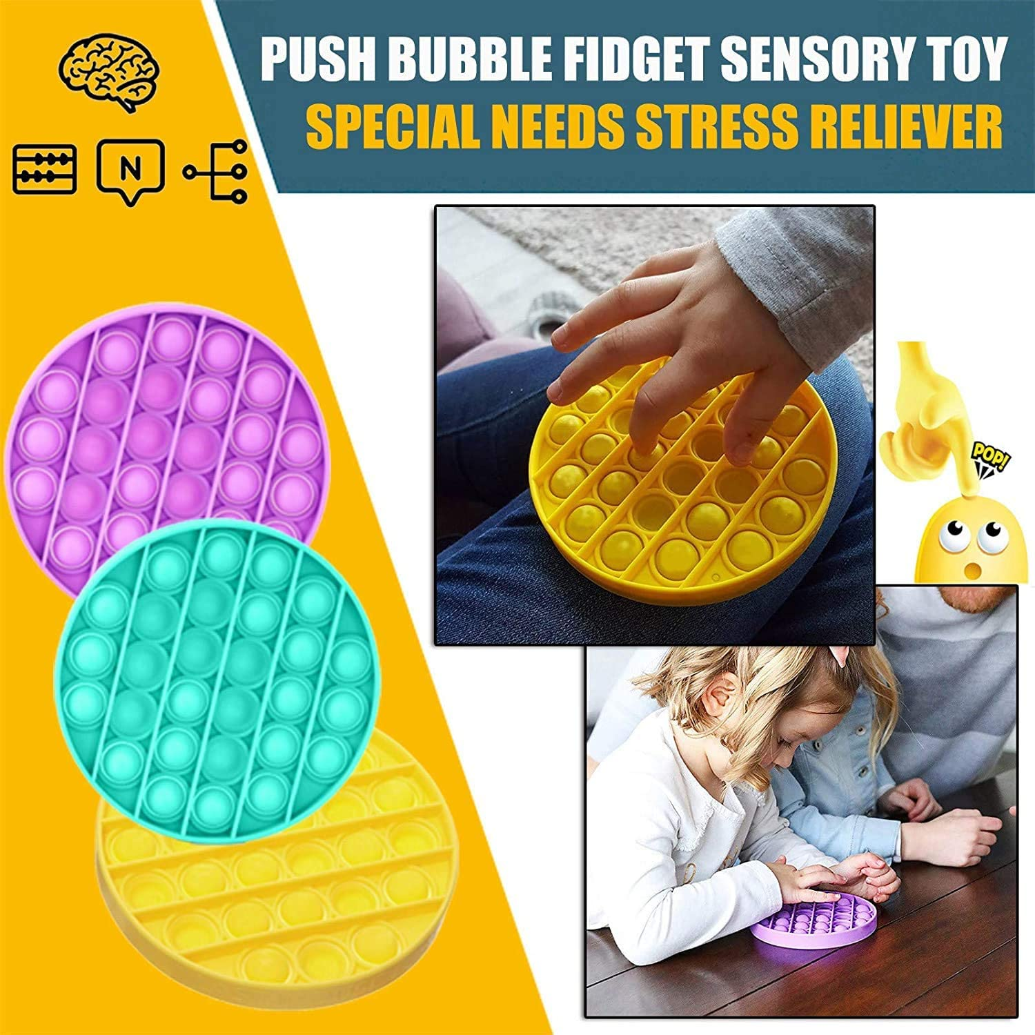 Yooap Fidget Toys bubble sensory fixed toys silicone pressure relief toys squeeze sensory toys pressure relief toys for autism enlarge