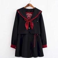 japanese long sleeved jk uniform skirt suit summer student korean college style suit magic array jk uniform sailor suit female 2