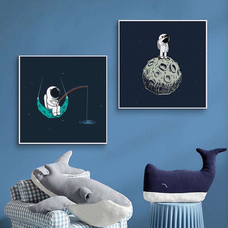 Cartel de astronauta de dibujos animados, cuadro sobre lienzo para pared, impresión para habitación de Chico, decoración para sala de estar