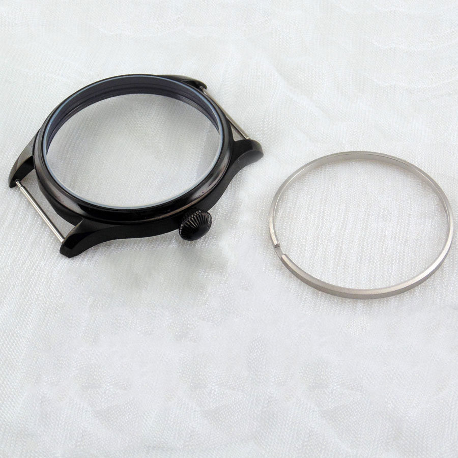 Relógio de Pulso dos Homens Masculino Assista Case Inoxidável Balck Pvd Ajuste Eta 6497 – 6498 St3600.3620.3621 Movimento Mão Enrolamento 44mm Aço