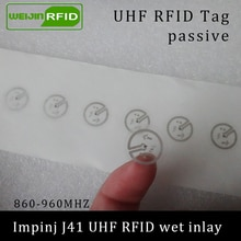 UHF-étiquette autocollante RFID   Incrustation humide, Impinj J41, 915mhz 900 mhz 868-860 MHZ, EPCC1G2 6C, étiquettes autocollantes passives