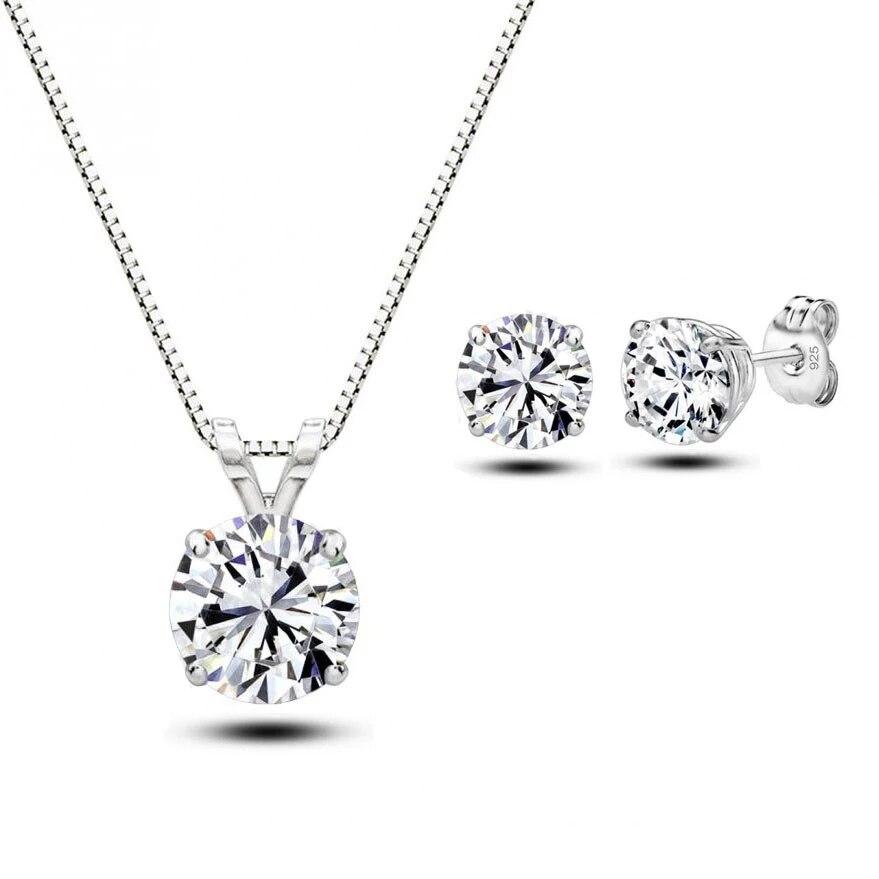 Женский комплект свадебных украшений, ожерелье + серьги из стерлингового серебра 925 пробы с фианитами и кристаллами, подарочные наборы