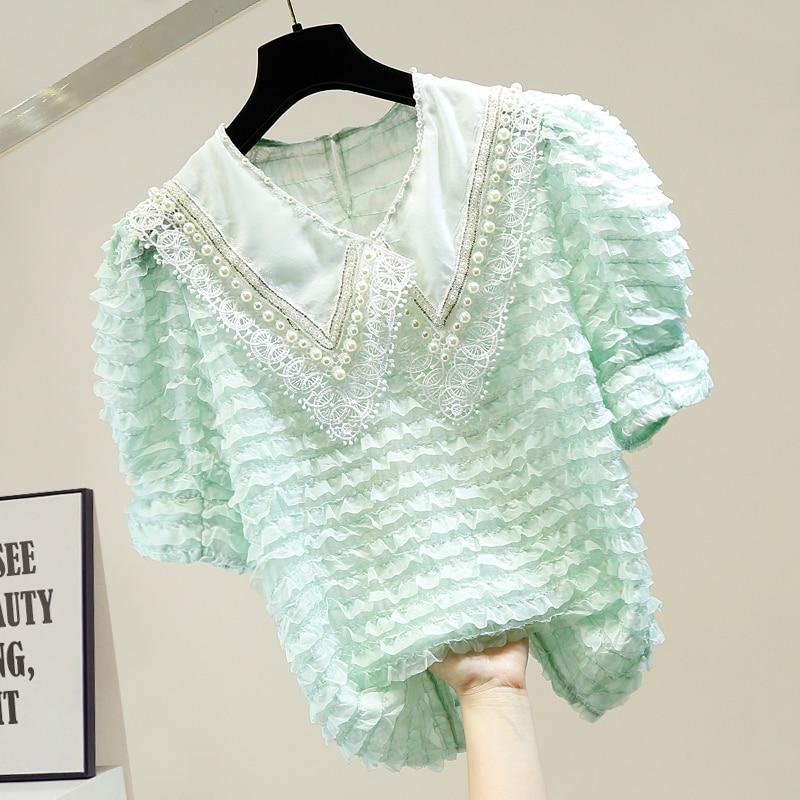 Summer Lace Shirt Women Handmade Beaded Diamond Chain Decorative Sweet Doll Collar Perspective Blouse Blusas Tops