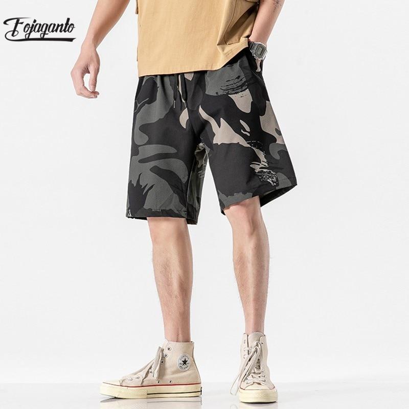 FOJAGANTO Men's Summer Breeches Shorts 2021 Cotton Casual Bermudas Black White Homme Classic Brand Clothing Beach Shorts Male