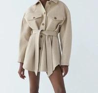 za women 2020 fashion with belt loose woolen jacket coat vintage long sleeve side pockets female outerwear chic overcoat