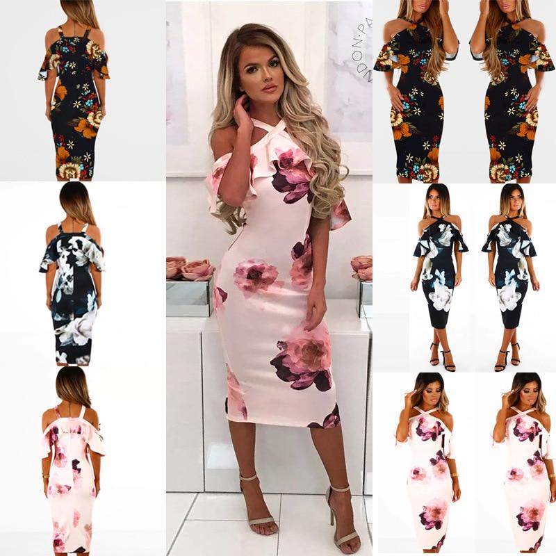 New 2021Spring Summer Dress Women Printed Sling cross Dress Casual Short Sleevele Elegant Ruffle Package Hip Dress Vestidos