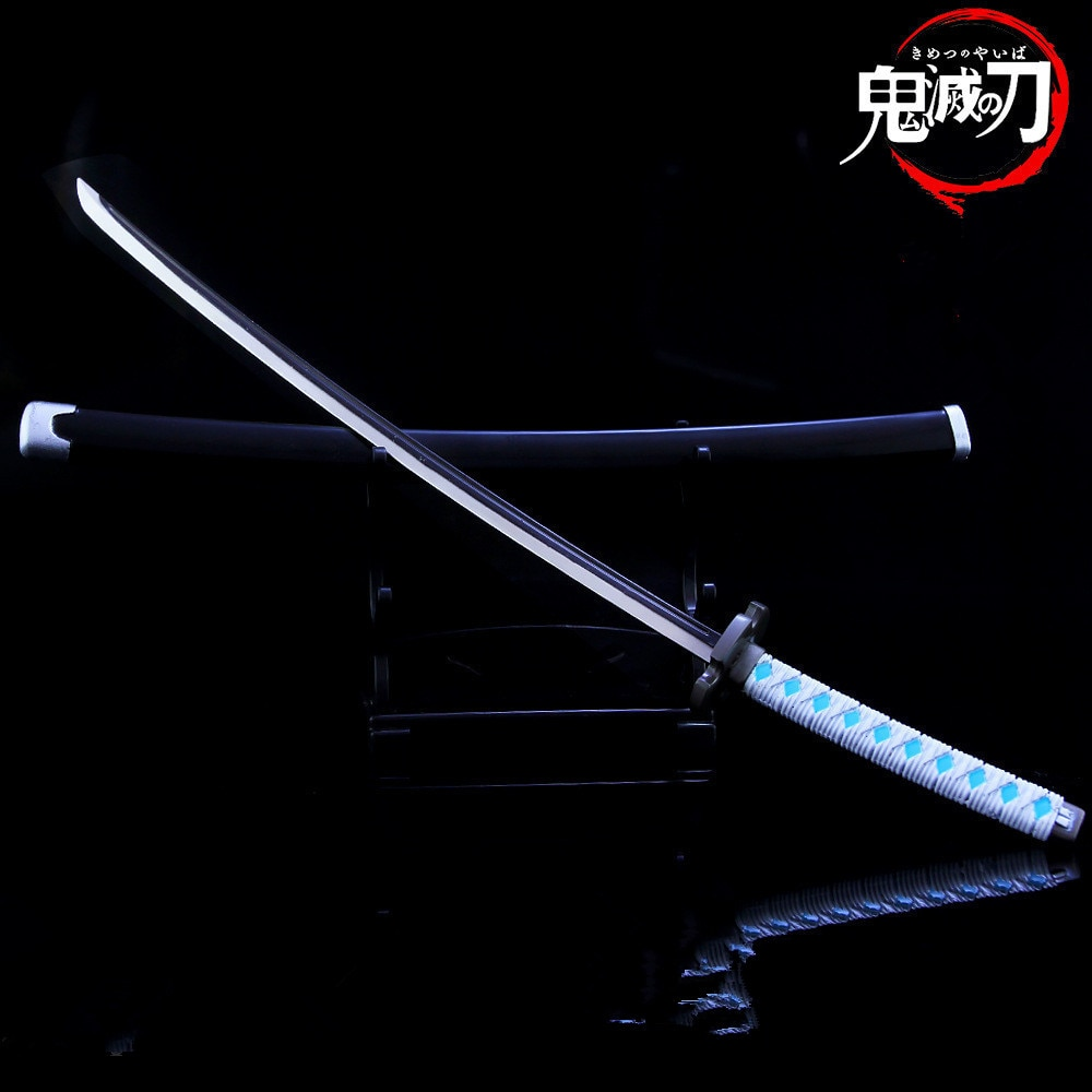 El Anime japonés demonio asesino espada llavero Cosplay Katana fantasma hoja de Metal llaveros colgantes Kamado Tanjirou armas llaveros