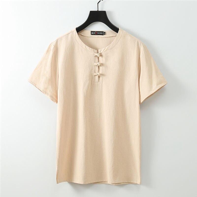 Verão plus size 7xl 8xl 9xl 68 70 linent-camisa masculina manga curta t estilo chinês tang terno oversize vintage tshirt azul marinho