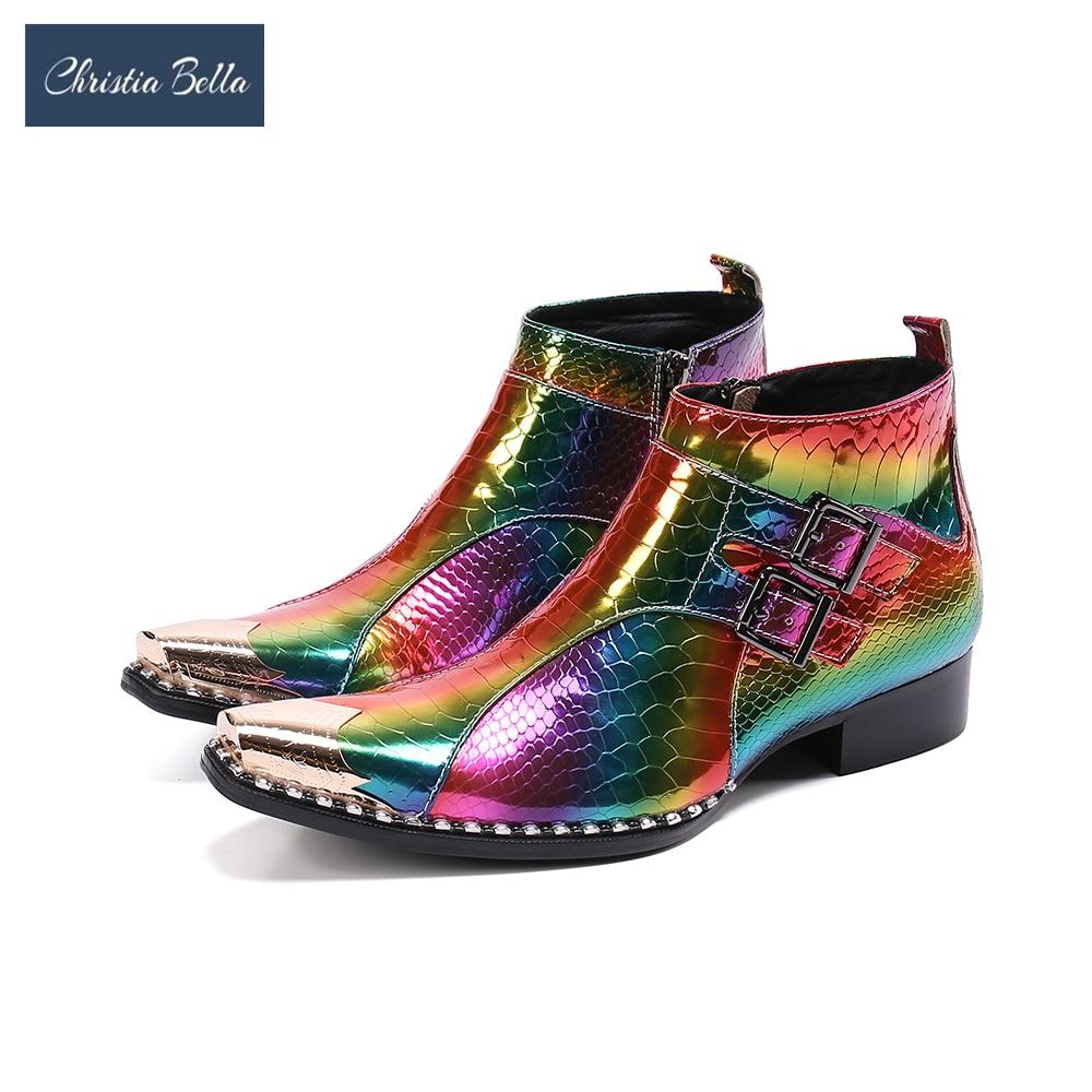 كريستيا بيلا تألق متعدد الألوان حفلة الرجال الأحذية المعدنية ساحة تو الجلد الحقيقي حذاء من الجلد نادي أحذية بوت قصيرة رجل أحذية أنيقة
