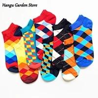 funny socks mens latest design boat socks short quality business geometric lattice colorful happy mens cotton socks