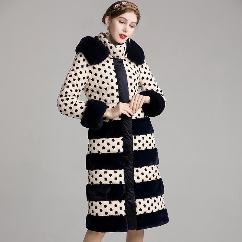Winter Hooded fur collar Down coat Vintage Style Embroidery Retro Ladies Slim Long Sleeve Elegant Down Jacket S-3XL