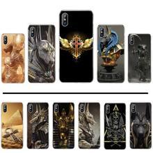Egyptian Pharaoh Anubis Ankh Black Soft Shell Phone Case Capa For iphone 4 4s 5 5s 5c se 6 6s 7 8 plus x xs xr 11 pro max