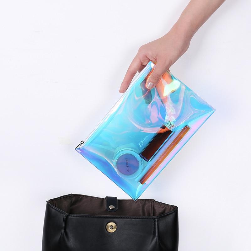 Bolsa de cosméticos láser para mujer, bolso holográfico de TPU, bolsa de maquillaje impermeable, cremallera de viaje para mujer, accesorios de maquillaje y pincel para Pintalabios