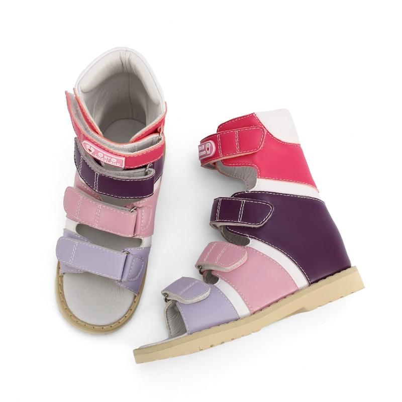 Girls Summer Sandals Little Toddler Orthopedic Shoes Kids High Top Colorful Leather Footwear For Child's Flatfeet Varus Clubfoot enlarge
