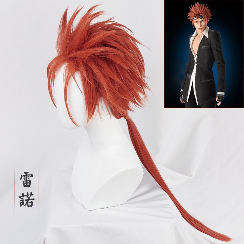 Final Fantasy VII Reno Wigs 50cm Orange Half Long Styled Cosplay Costume Wigs High Temperature Game Wigs + Wig Cap
