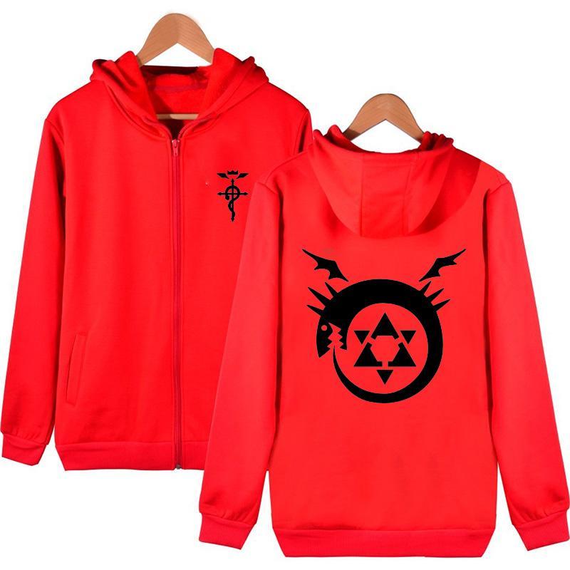 Unisex Fullmetal Alchemist Red Hooded Hoodie Jacket Edward Elric Alphonse Elric Cardigan Coat Top
