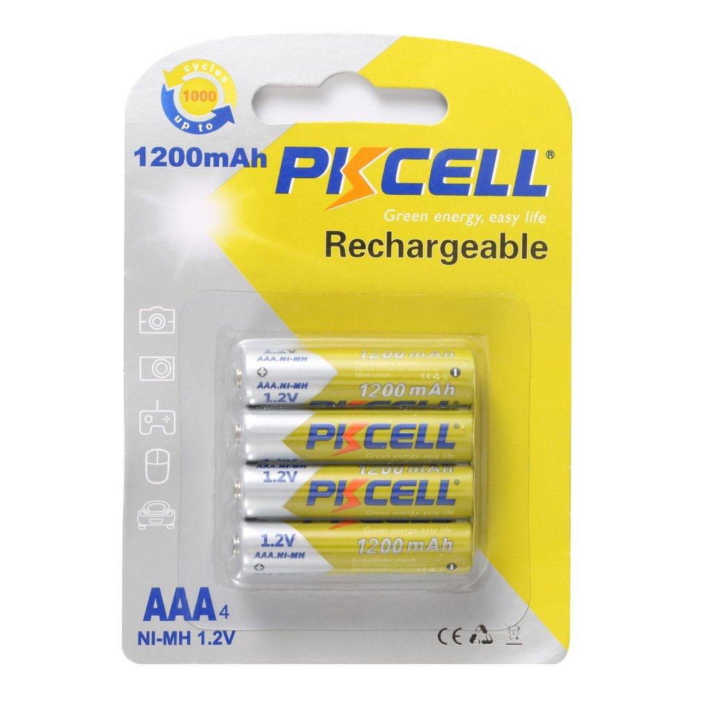 4 Uds PKCELL 1200mAh baterías NI-MH 1,2 V recargable AAA batería respetuosa con el medio ambiente se adapta a la mayoría de los productos electrónicos