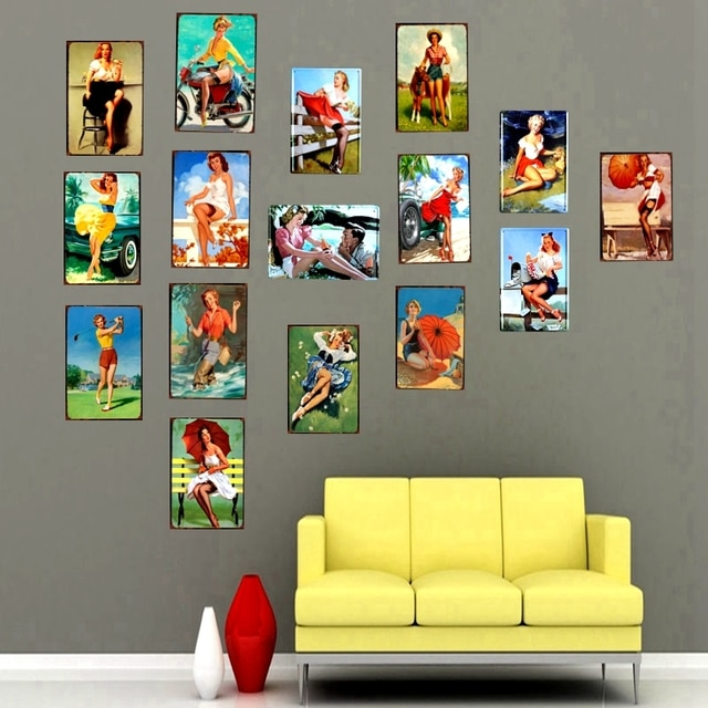 Medieval Style Retro Pin Up Girl Tin Metal Sign Plaque Metal Vintage Wall Pub Cafe Shop Home Art Decoration Iron Poster